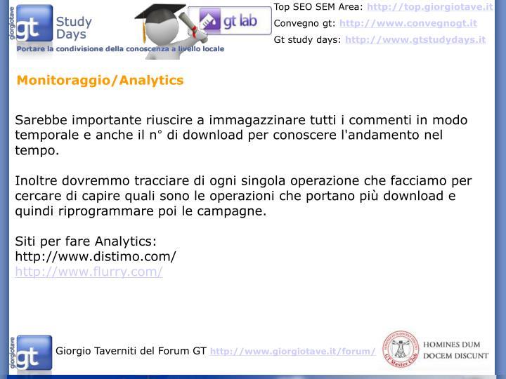 Monitoraggio/Analytics