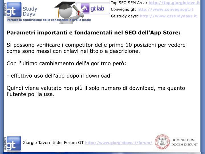 Parametri importanti e fondamentali nel SEO dell'App Store: