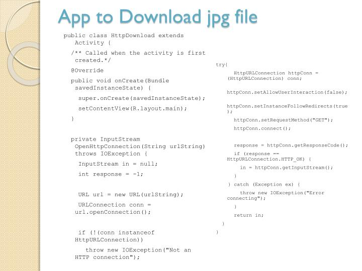 App to Download jpg file