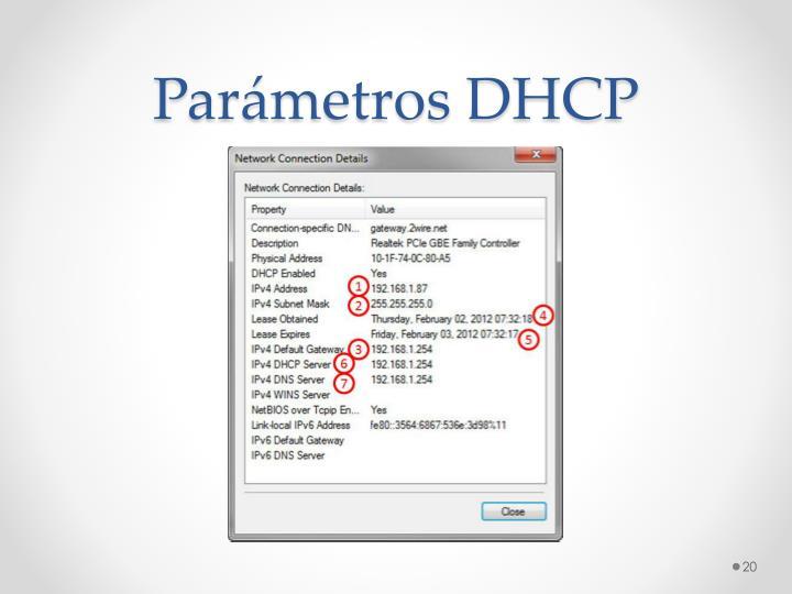 Parámetros DHCP
