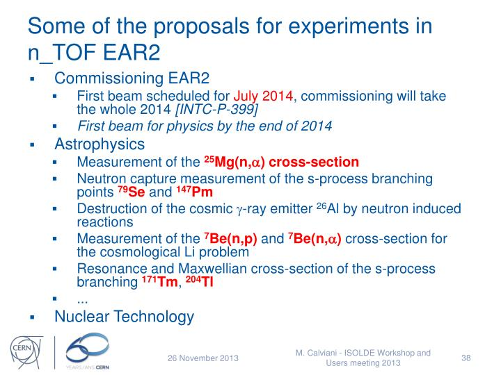 Some of the proposals for experiments in n_TOF EAR2