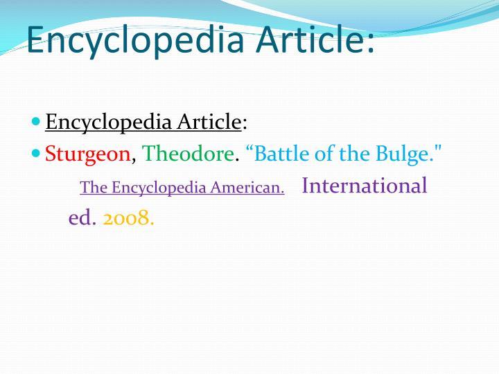 Encyclopedia Article: