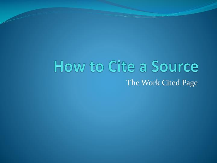 how to cite a source