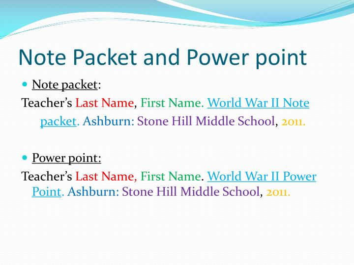 Note Packet and Power point