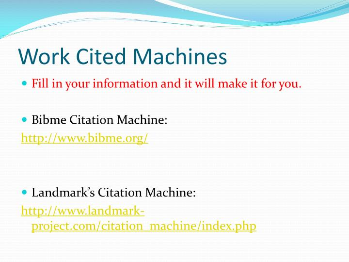 Work Cited Machines
