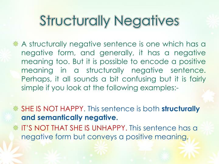 Structurally negatives