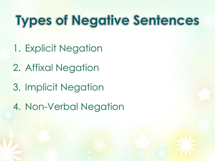 Types of Negative Sentences