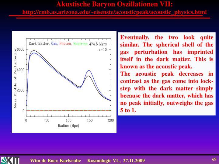 Akustische Baryon Oszillationen VII: