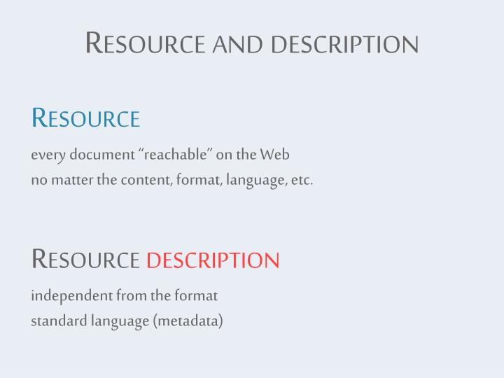 Resource and description