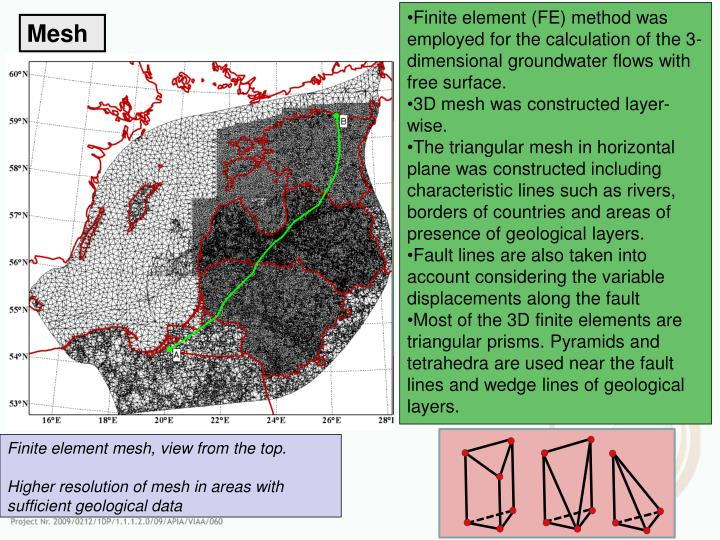 Finite element (FE) method was employed for the calculation of the 3-dimensional groundwater