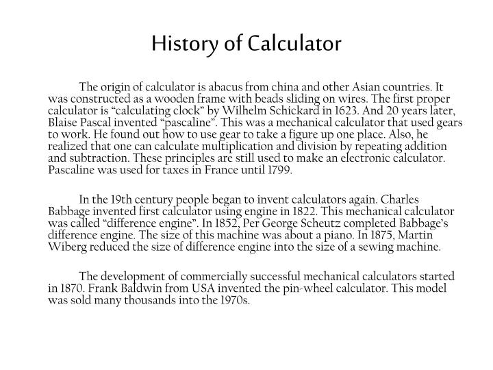 History of Calculator