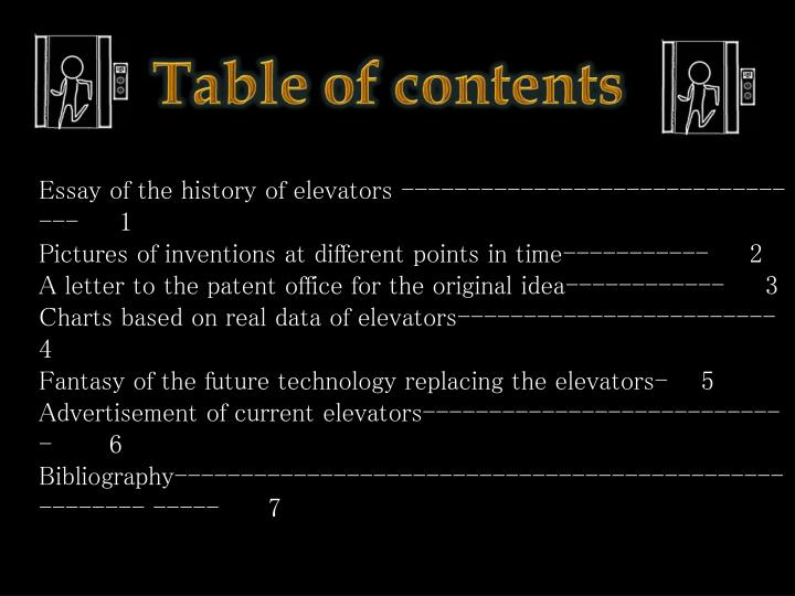 Essay of the history of elevators ----------------------------- ---     1
