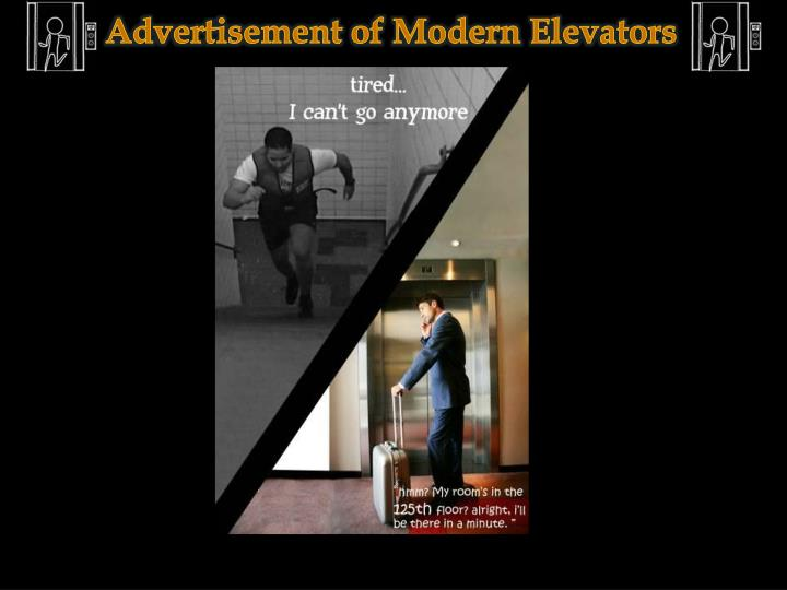 Advertisement of Modern Elevators