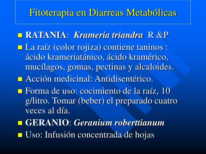 Fitoterapia en Diarreas Metabólicas