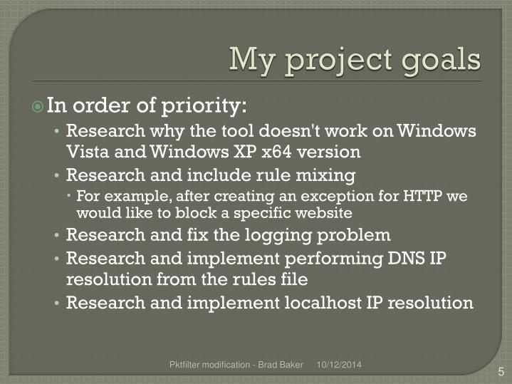 My project goals