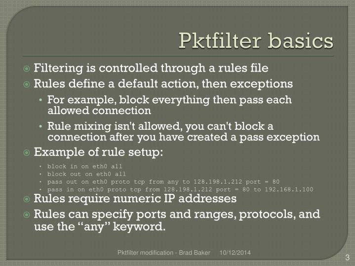 Pktfilter basics