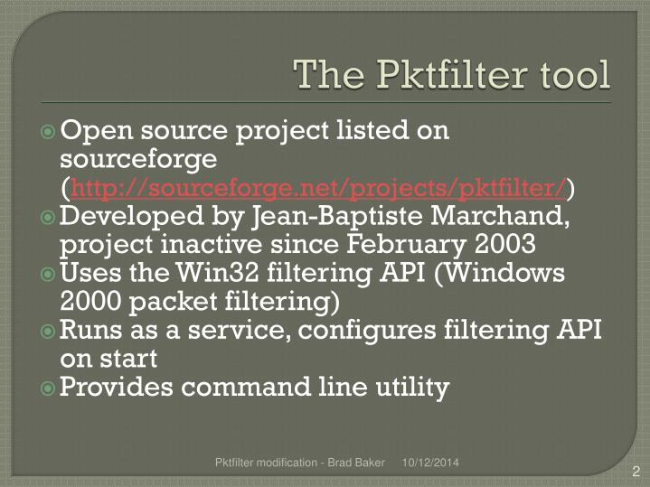 The Pktfilter tool