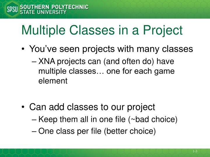 Multiple classes in a project