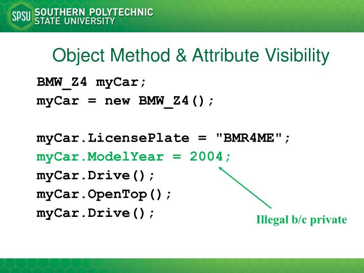 Object Method & Attribute Visibility