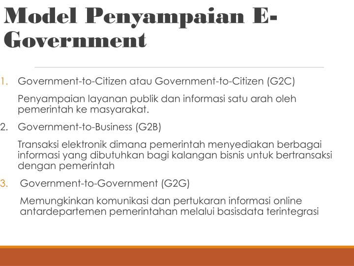 Model Penyampaian E-Government