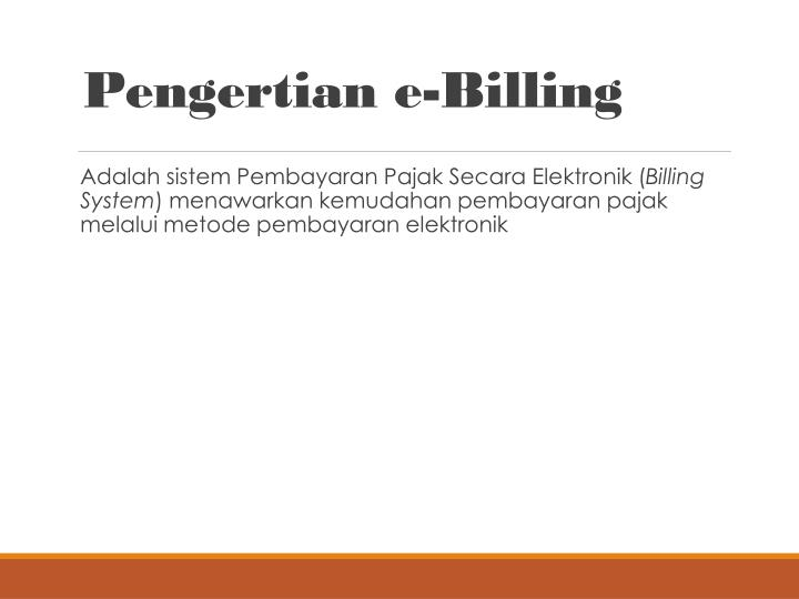 Pengertian e-Billing