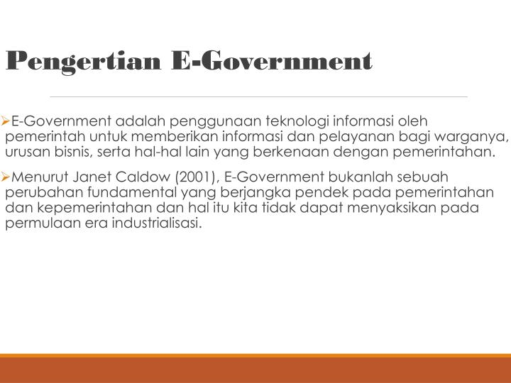 Pengertian e government