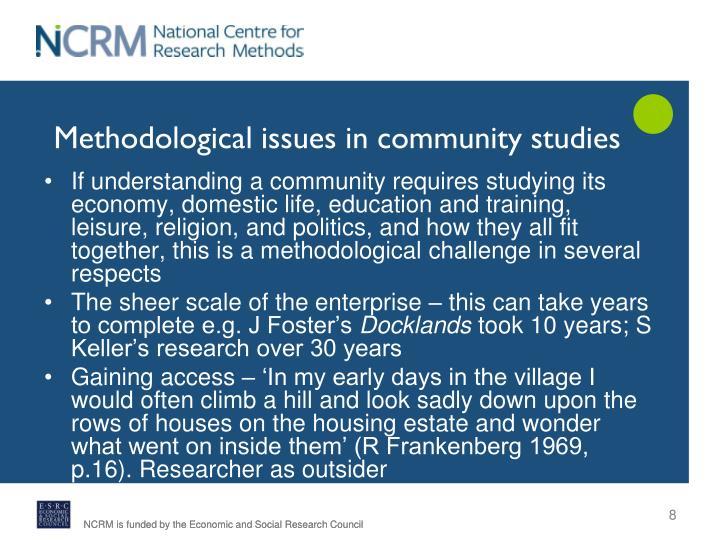 Methodological issues in community studies