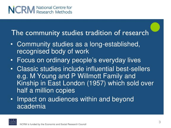 The community studies tradition of research