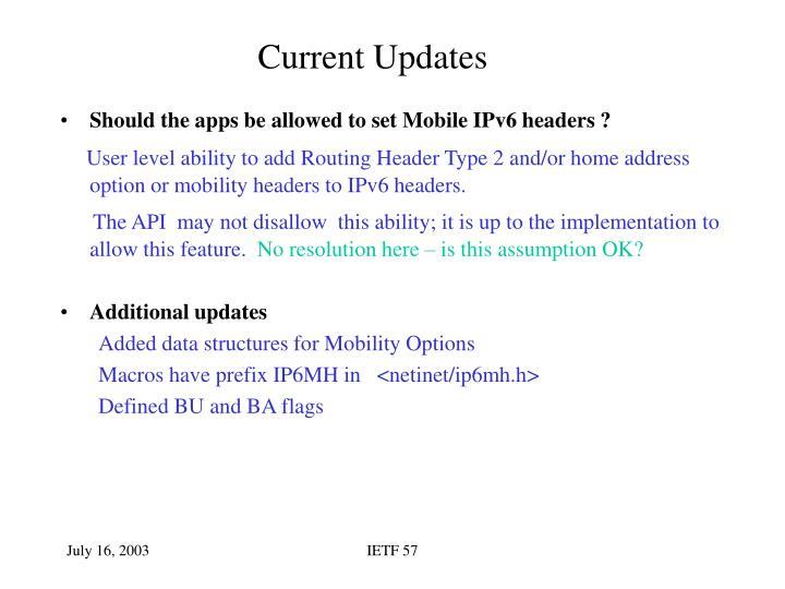 Current Updates