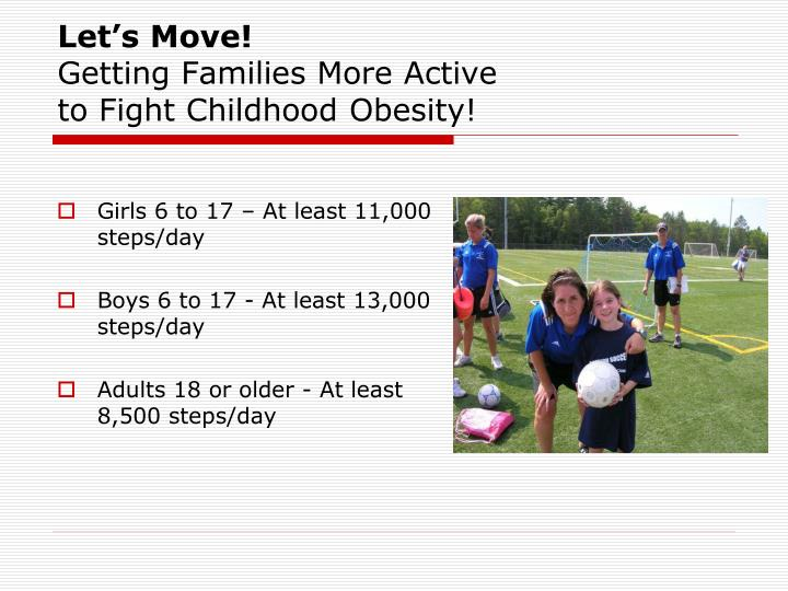 lets move childhood obesity About let's move the epidemic of childhood obesity learn the facts let's move is about putting children on the path to a healthy future during their earliest.