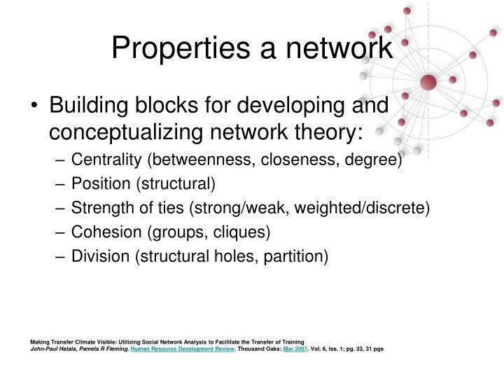 Properties a network