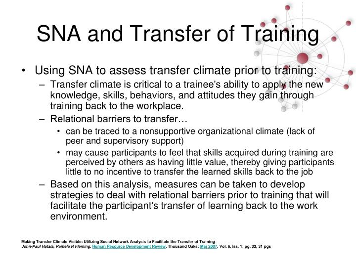 SNA and Transfer of Training