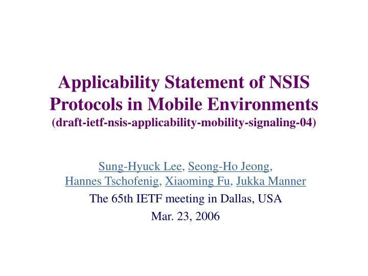Applicability Statement of NSIS Protocols in Mobile Environments