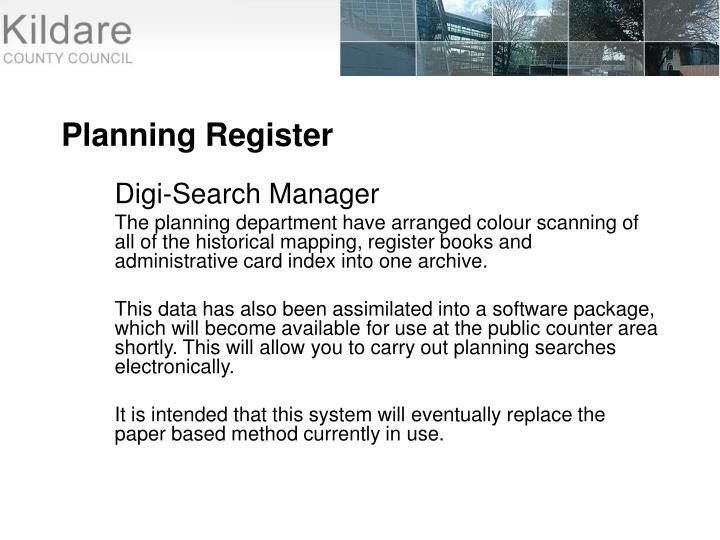 Planning Register