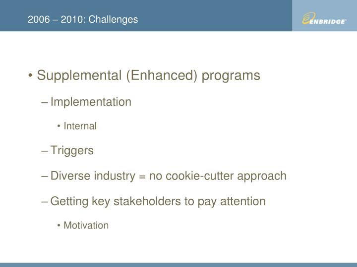 2006 – 2010: Challenges