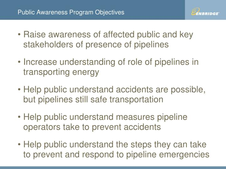 Public awareness program objectives