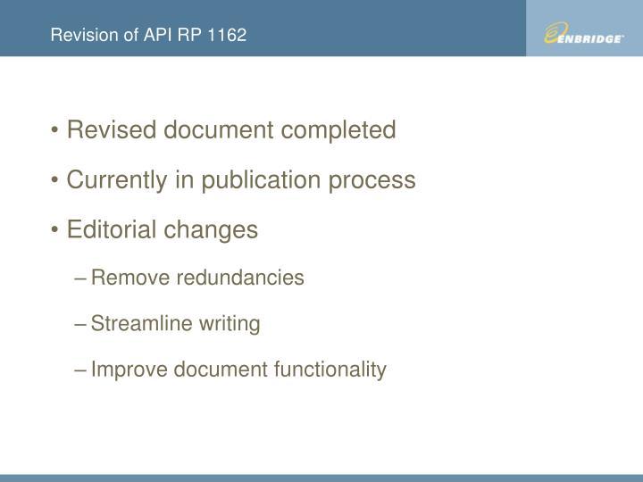 Revision of API RP 1162