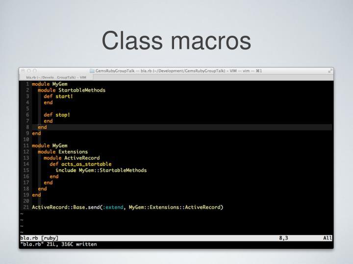 Class macros