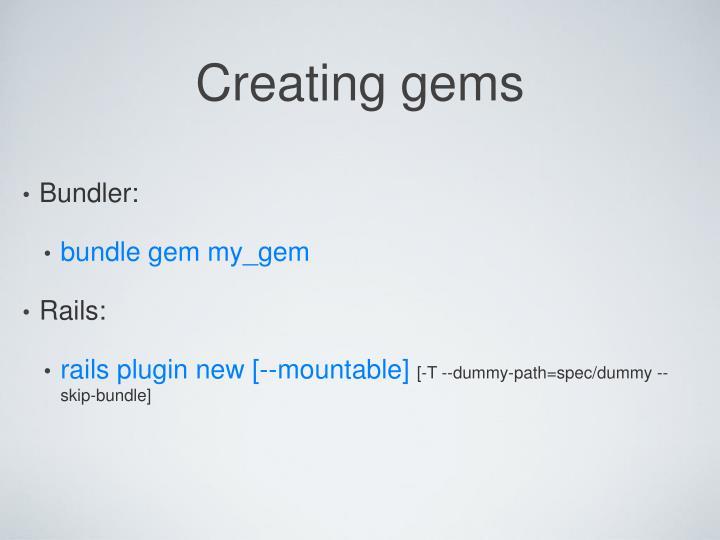 Creating gems