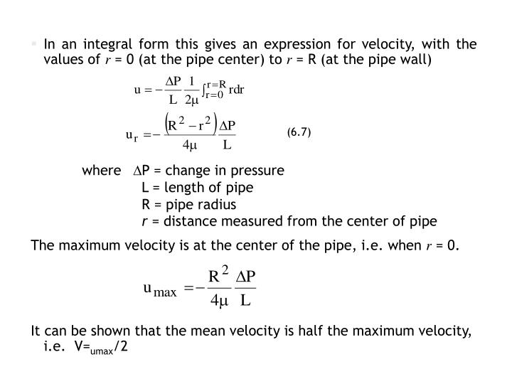 In an integral form this gives an expression for velocity, with the values of
