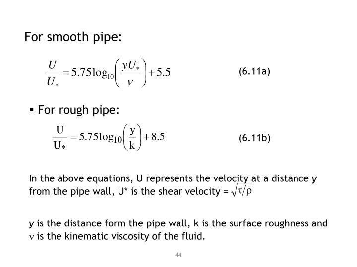 For smooth pipe: