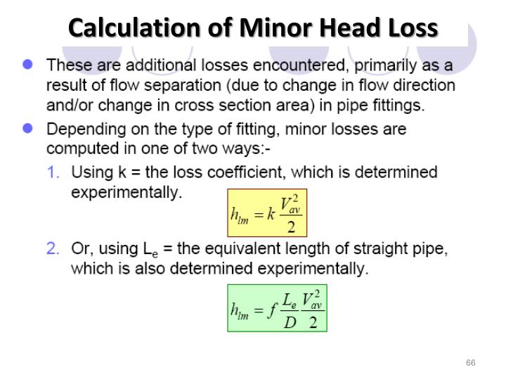 Calculation of Minor Head Loss