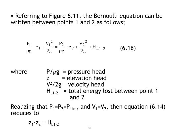 Referring to Figure 6.11, the Bernoulli equation can be  written between points 1 and 2 as follows;