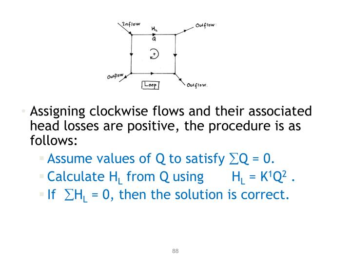 Assigning clockwise flows and their associated head losses are positive, the procedure is as follows: