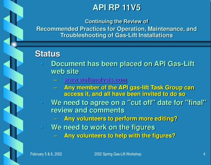 API RP 11V5