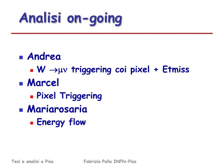 Analisi on-going