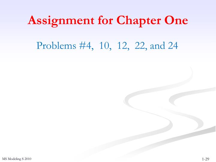 Assignment for Chapter One