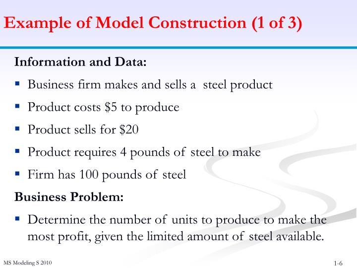 Example of Model Construction (1 of 3)