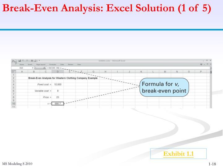 Break-Even Analysis: Excel Solution (1 of 5)