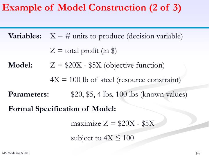 Example of Model Construction (2 of 3)
